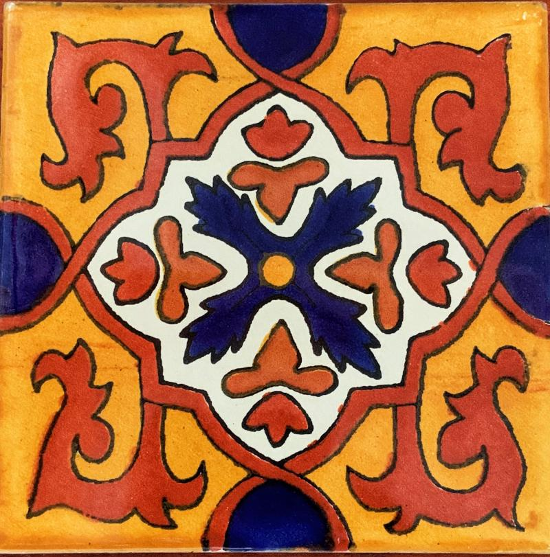 traditional gold white and blue talavera tile