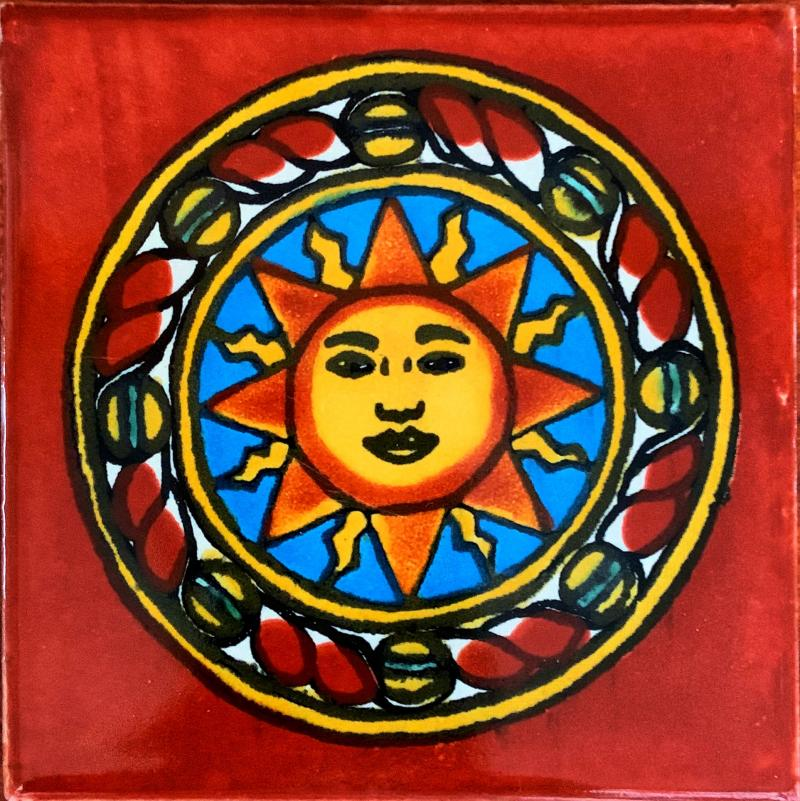 sun in circle talavera tile