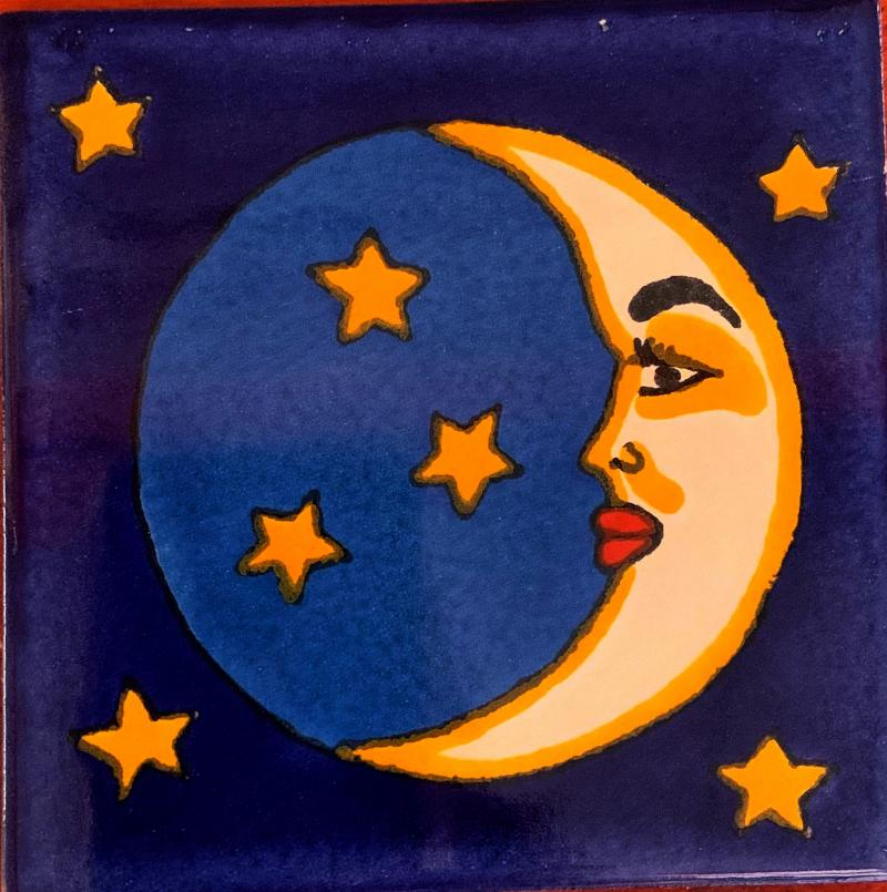 stars and moon with face talavera tile