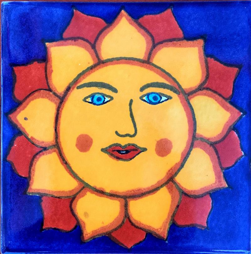 sun with blue eyes talavera tile