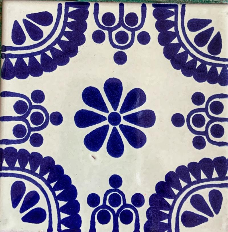 traditional white and blue talavera tile