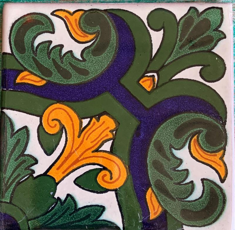 green and gold flor de lis talavera tile