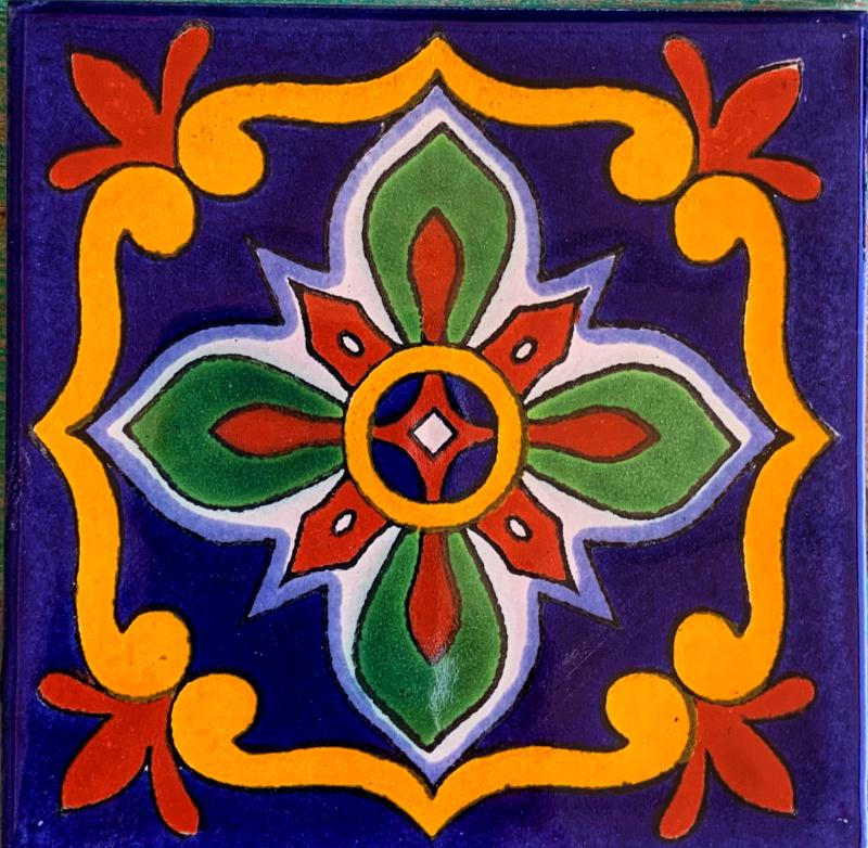 green and red flower with gold frame talavera tile
