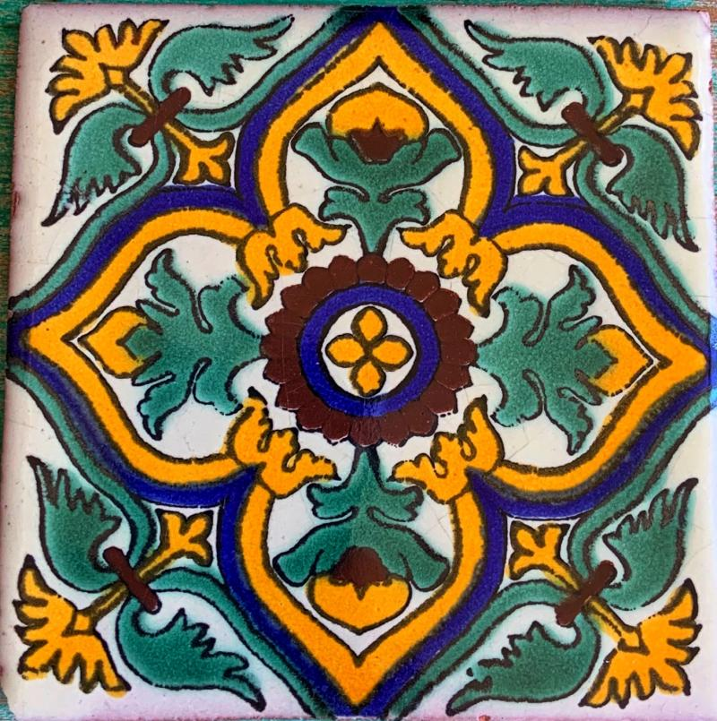 green and gold talavera tile
