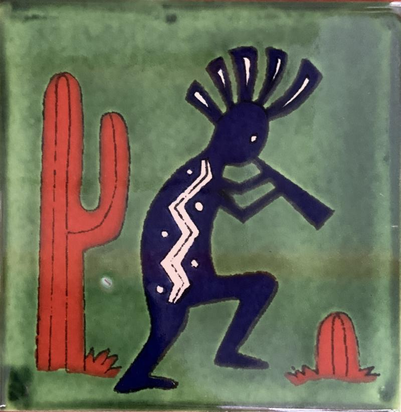 kokopelli with green background talavera tile
