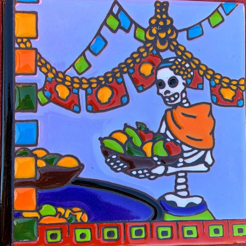 chiles day of the dead talavera tile