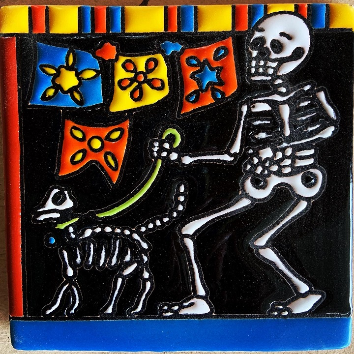 walking the dog dia de los muertos tile