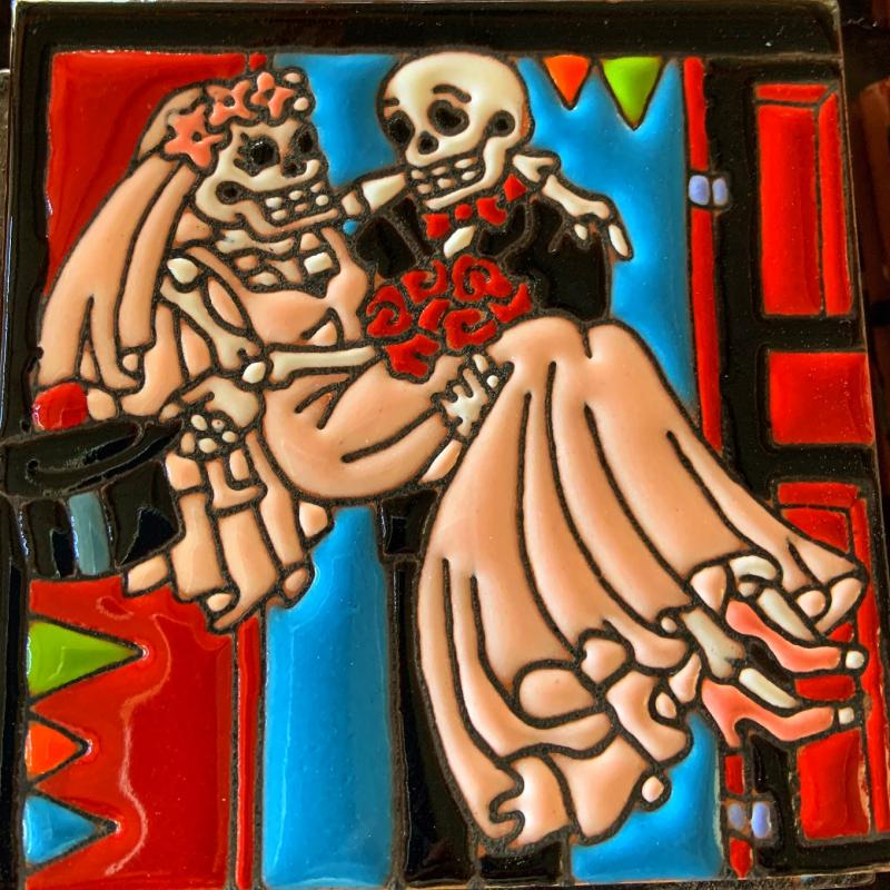 just married dia de los muertos tile
