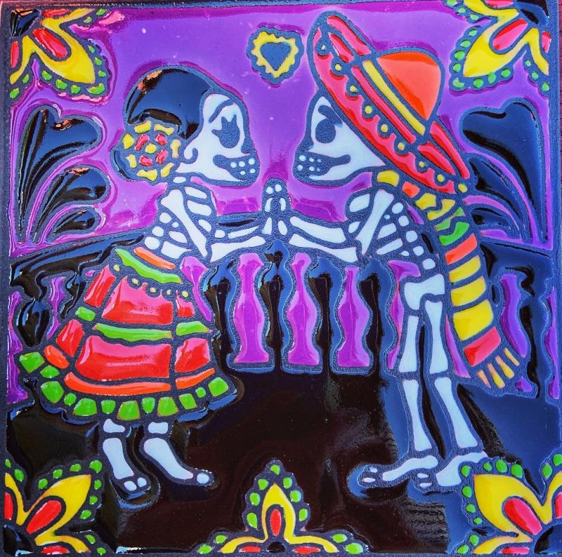 pat-a-cake day of the dead talavera tile