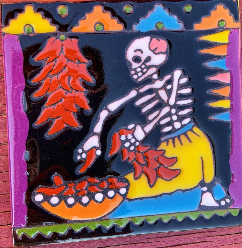 ristra day of the dead talavera tile