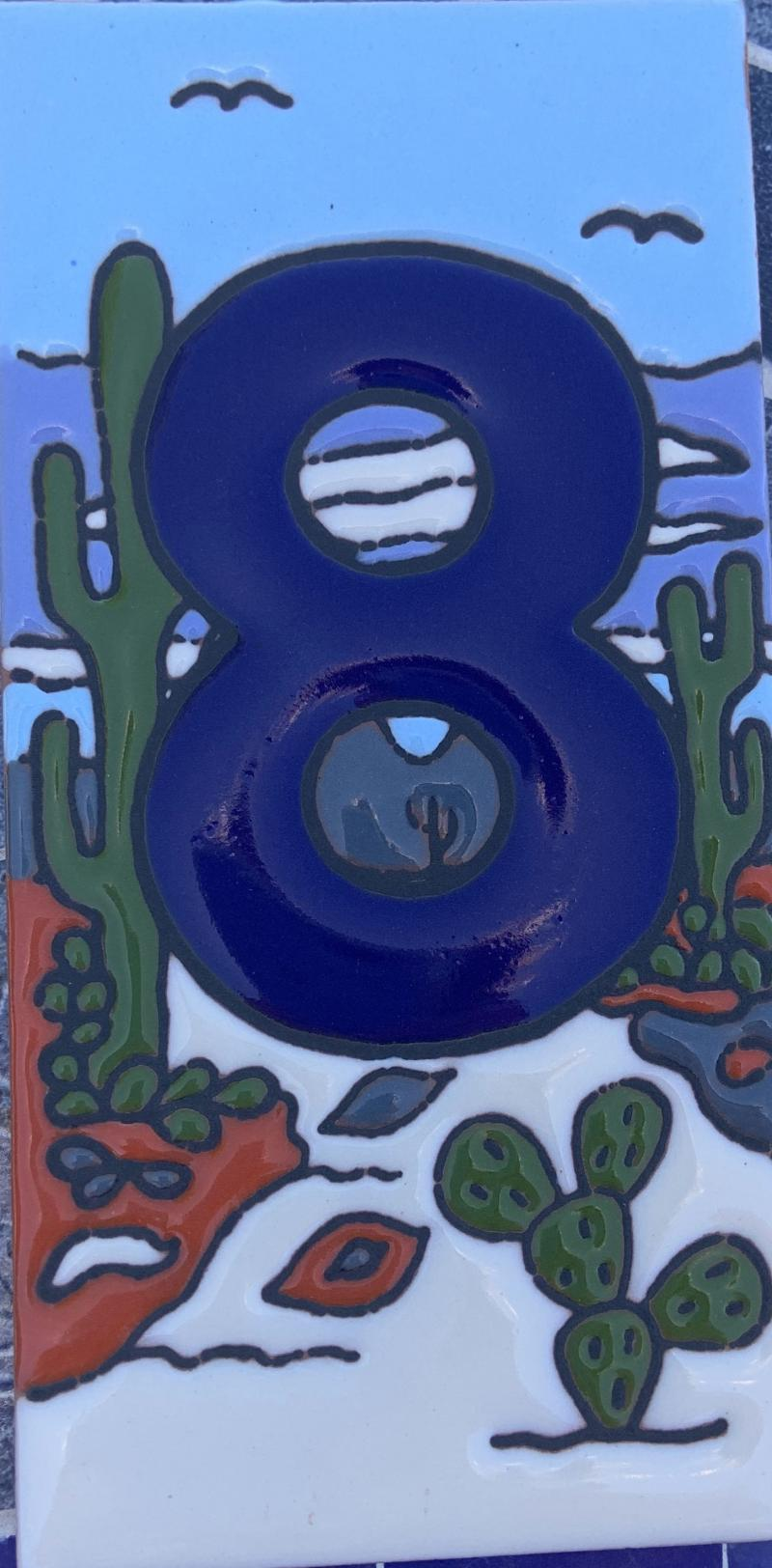 talavera number tile with cactus