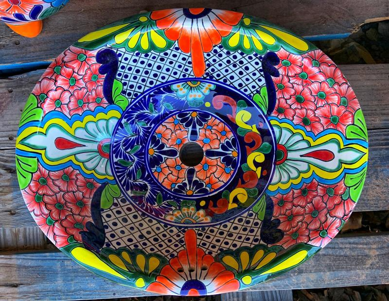talavera sink-green-yellow-orange-blue