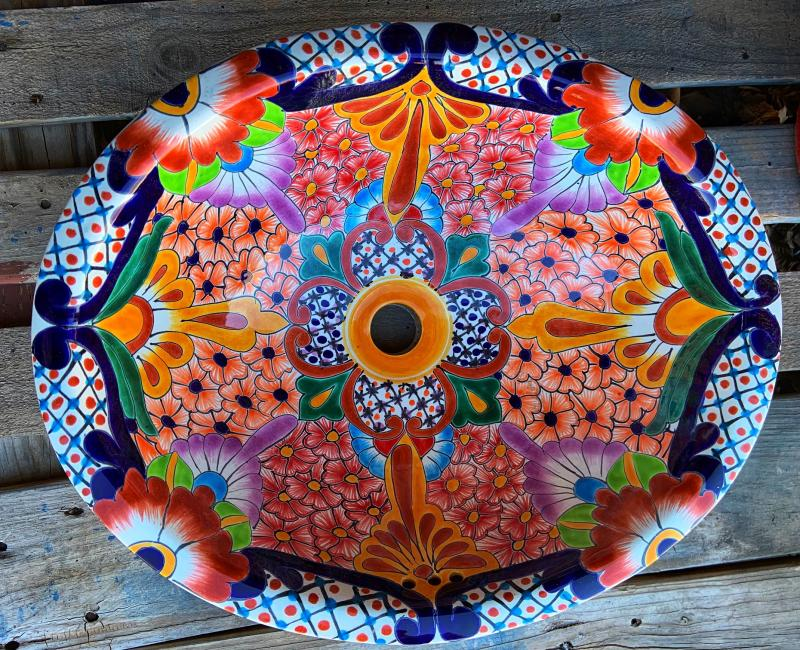 talavera sink-orange blue
