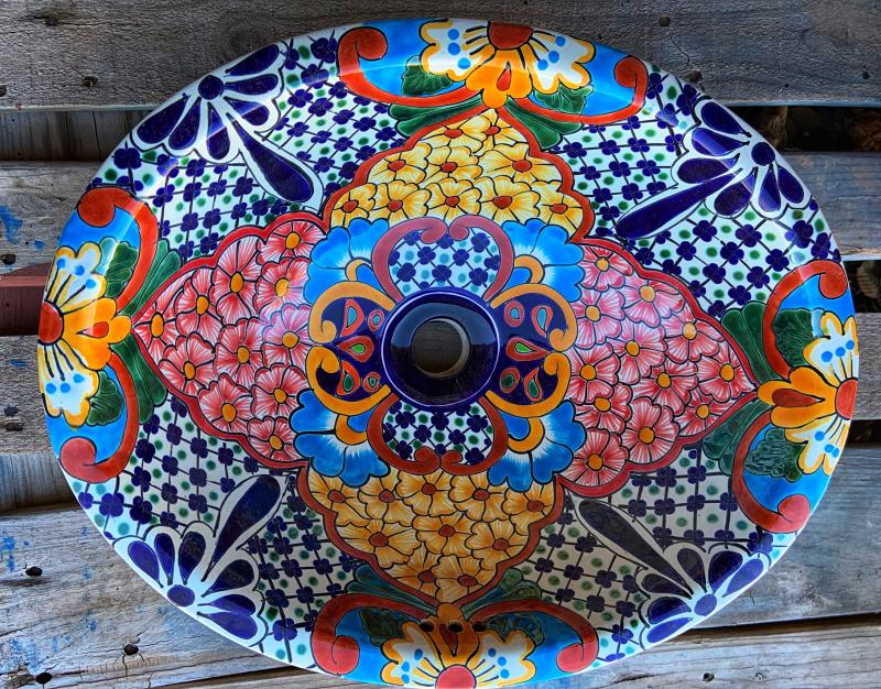 talavera sink-pink-yellow flowers