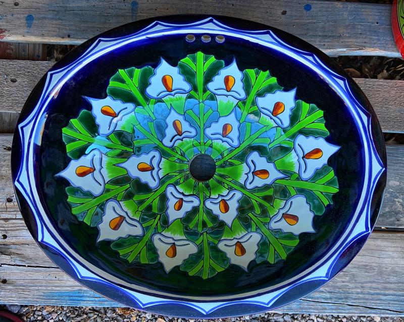 talavera sink-white lillies