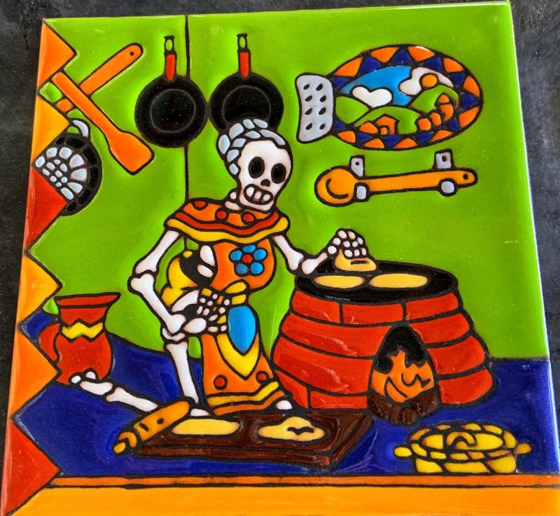 tortilla day of the dead talavera tile